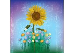 向日葵花朵与怀旧背景