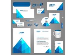 简洁蓝色企业vi模板