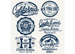 蓝色复古T恤标签