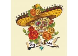 墨西哥帽子骷髅插画