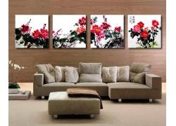 客厅牡丹花无框画