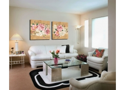 牡丹花卉无框画与沙发
