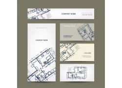创意手绘房屋图纸卡片