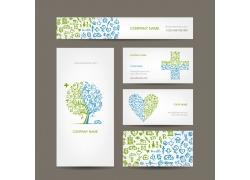 创意医疗爱心树木卡片设计