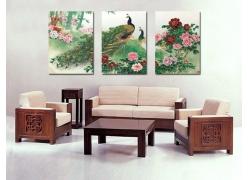 孔雀牡丹竹子国画壁画