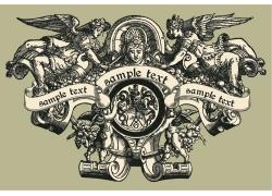 创意复古天使图案T恤印花