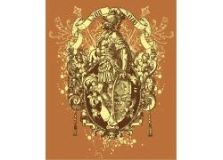 金色骑士徽章T恤图案设计