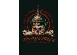 时尚潮流骷髅图案T恤印花