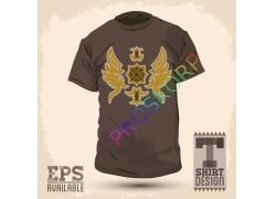 怀旧翅膀图案T恤图案