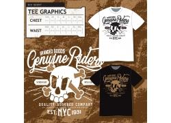 创意怀旧骷髅图案T恤设计