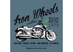 时尚摩托车T恤图案