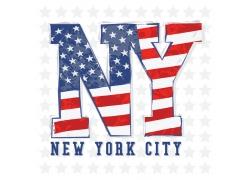 美国国旗文字T恤印花设计