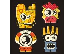 卡通拉链怪物插画图片