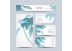 椰树背景名片展板设计