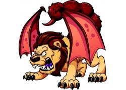 卡通狮子怪物插画图片