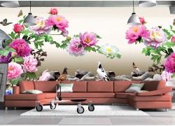 鸽子与牡丹花壁画