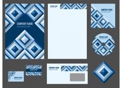 蓝色格子vi模板