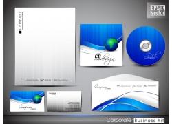 企业VI模板蓝色光盘设计