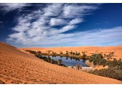 蓝天白云下的沙漠风景