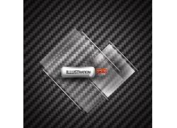 碳背景与透明标签