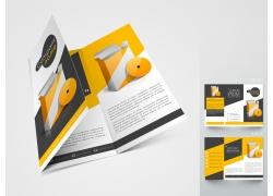橙色三折页模板图片