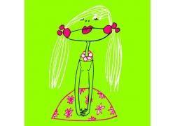 手绘女孩插画图片
