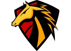 卡通马盾牌徽标图片