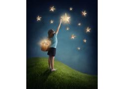 摘星星的小女孩