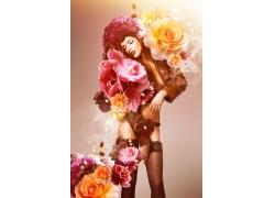鲜花与性感丝袜美女