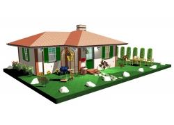 3D绿色环保房子模型