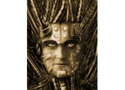 3D金属人物图案