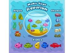 鱼缸和鱼游戏元素素材图片