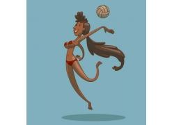 打排球的卡通运动美女