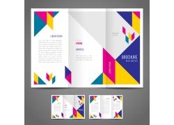 明艳几何图形三折页设计图片