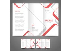红色线条三折页设计图片