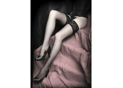 穿蕾丝袜的性感美女