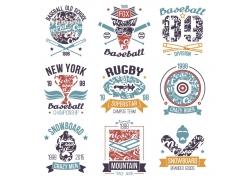 体育主题元素图标印花图案