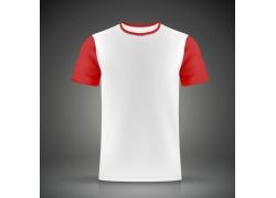 红白短袖T恤模板