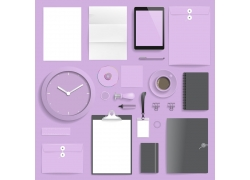 紫色咖啡杯企业VI模板