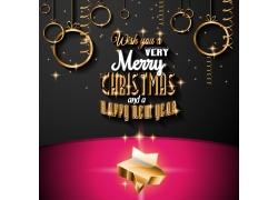 创意圣诞球背景与立体星星