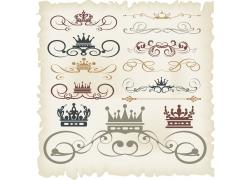 卷边花纹皇冠页面元素