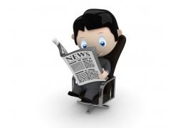 办公椅子上看报的3D小人