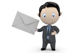 拿着信件的3D小人
