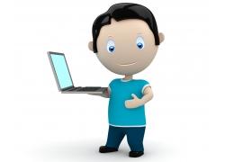 捧着笔记本电脑的3D小人