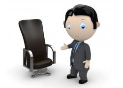 做请坐手势的3D小人