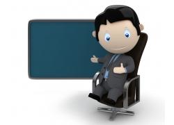 3D商务男士与黑板