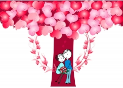 爱心树下的卡通情侣图片