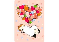 卡通爱心气球与卡通情侣图片