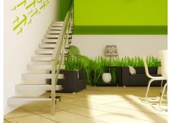 环保绿色复式客厅效果图