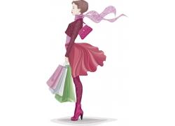 提着购物袋的卡通女孩图片